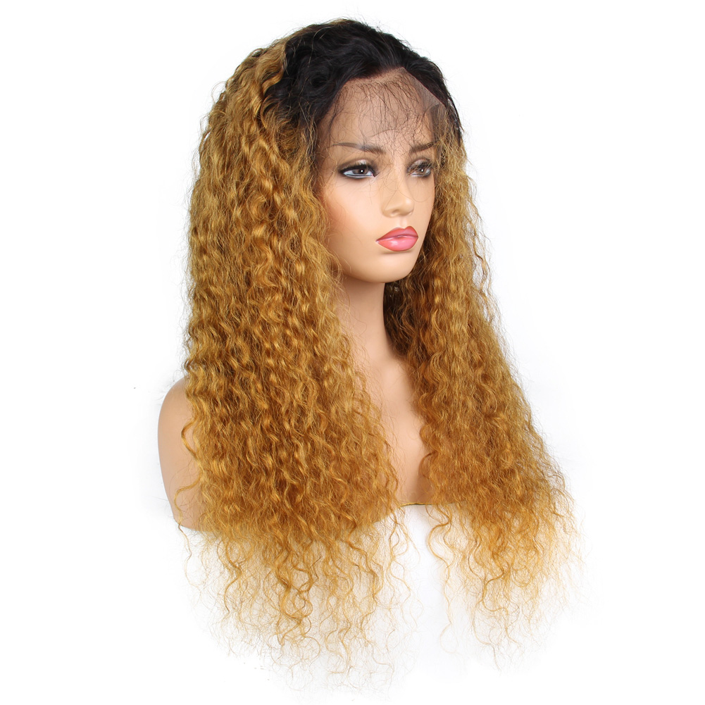 ombre 1B 27  brazilian lace front human hair wigs virgin blonde ... c8a47642e1