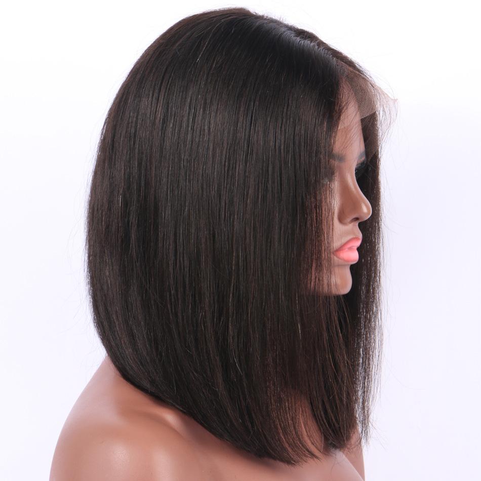 Full Lace Malaysian Virgin Hair Straight Bob Wigs Human Hair Full Lace Wig Natural Black Hair Line Pre Plucked Bleached Knots Glueless Short Bob Wig